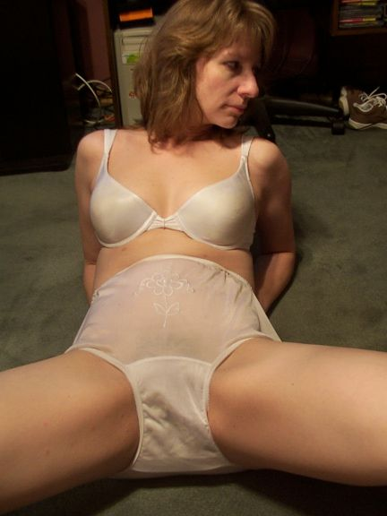 Good wet white nylon full cut panty briefs
