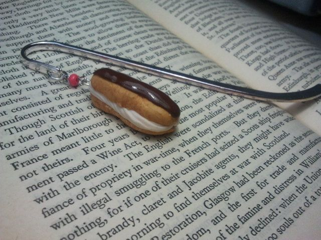 Chocolate Eclair Bookmark made from polymer clay