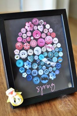 A use for leftover buttons. I've seen pictures made out of old jewelry too. Can put in a pretty frame for an even more crafty appearance.