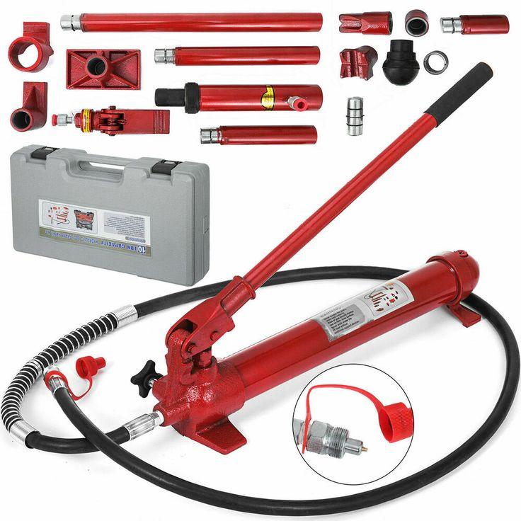 Ebay Advertisement 10 Ton Porta Power Hydraulic Jack Body Frame Repair Kit Auto Shop Tool Lift Ram Hydraulic Cars Auto Body Lifted Ram