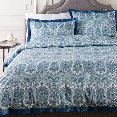 Griffin Blue Three Piece Full/Queen Duvet Set Duvet Set Duvet Covers & Duvet Sets Bedding
