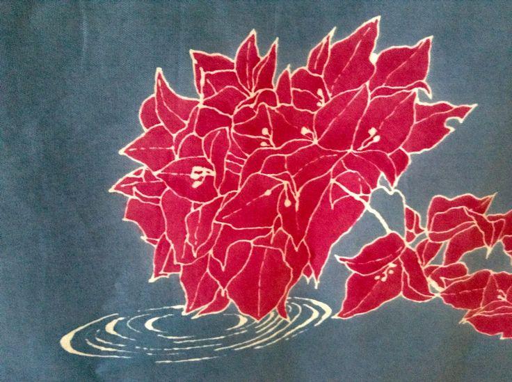 Detalle trinitarias, pieza realizada en yuzen.