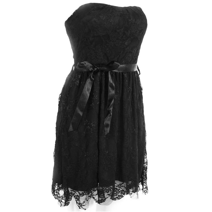 Monkeying About Ladies Padded Bow Dress Bandeau Cocktail Party Lace Dress £15.95