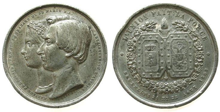 Belgien Zinn Leopold (1835-1909) Kronprinz, auf seine Hochzeit mit Marie Henriette Anne von Habsburg-Lothringen (1836-1902), beider Büst Medaille 1853 ss