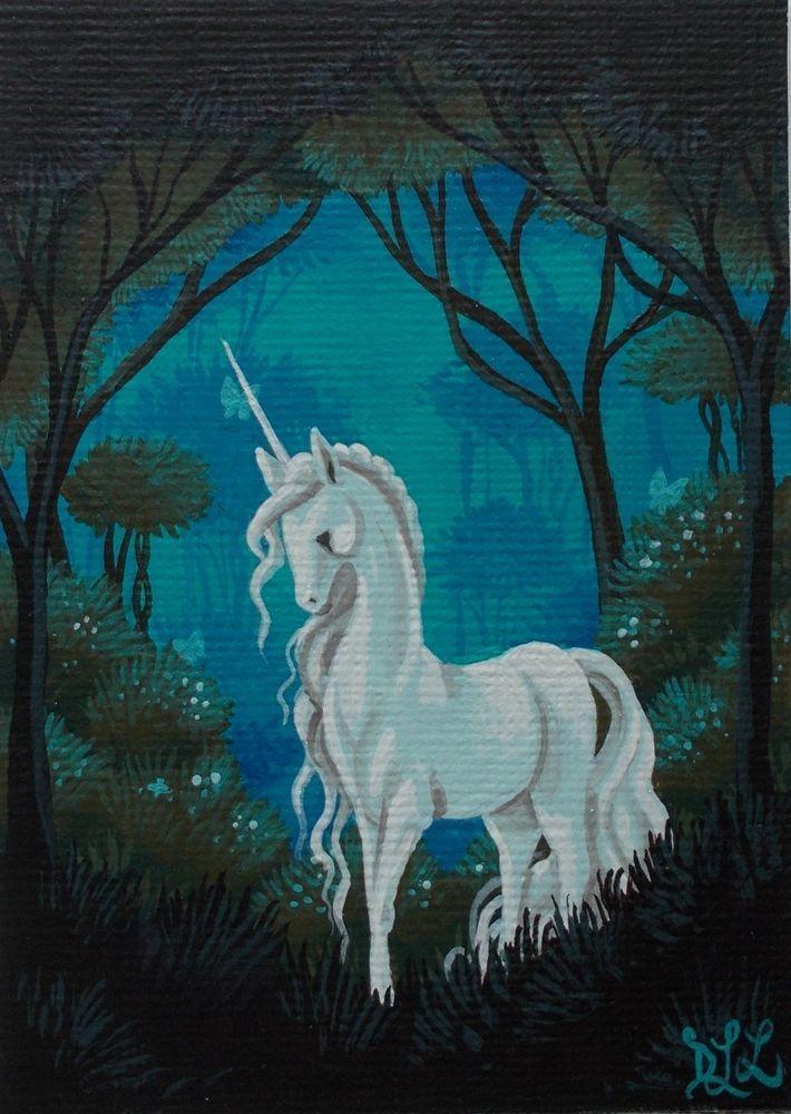 ACEO original/dark forest unicorn/acrylic/miniature ...