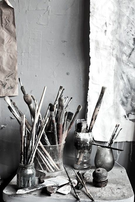 art studio corner should always have paint brushes in it! :)                                                                                                                                                     More