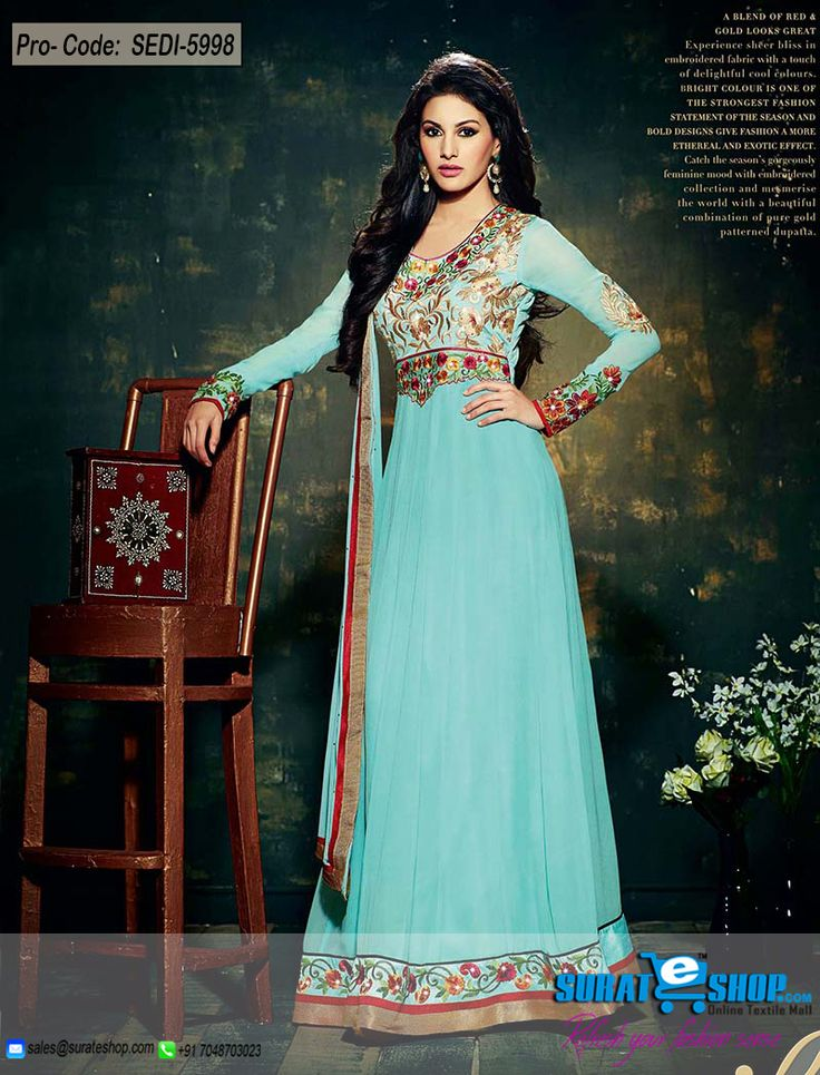 Women Beauty Is Magnified Tenfold In This Alluring Cyan Blue Faux Georgette Salwar Kameez. This Gorgeous Attire Is Showing Some Fantastic Embroidery Done With Butta Work, Lace, Patch Work, Resham, Stones Work. Paired With A Matching Bottom Comes With A Matching Dupatta  Visit: http://surateshop.com/product-details.php?cid=2_27_43&pid=8307&mid=0
