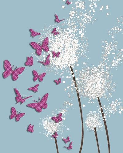 Purple or Pink Butterflies Poster Custom. $8.00, via Etsy.