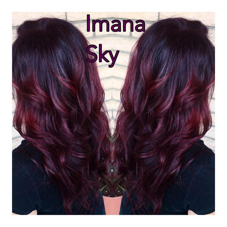 Deep plum red hair At Imana Sky Salon Haircolor , Layers , balayage