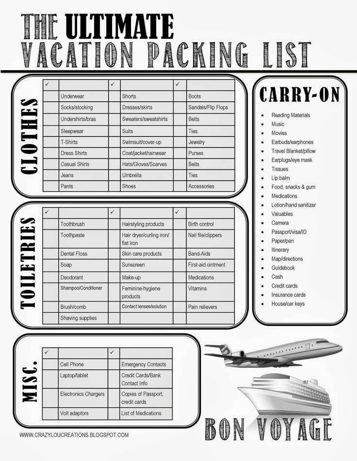 Sample Packing Checklist Print Out Travel Packing List Best Packing