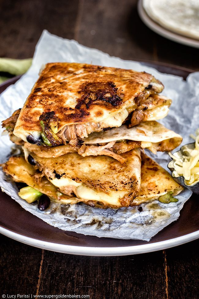 Cheesy Pulled Pork, Black Bean & Avocado Mexican Quesadillas | Supergolden Bakes