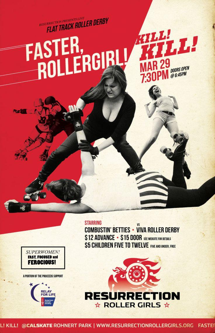 Roller skating rink rohnert park - Faster Rollergirl Kill Kill Poster For Mar Bout