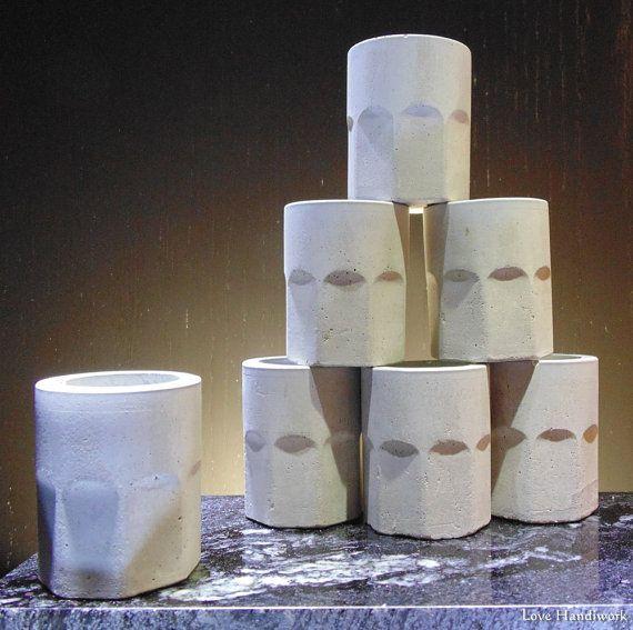Cement  Shot Glass Succulent Planter Paperweight  Handmade
