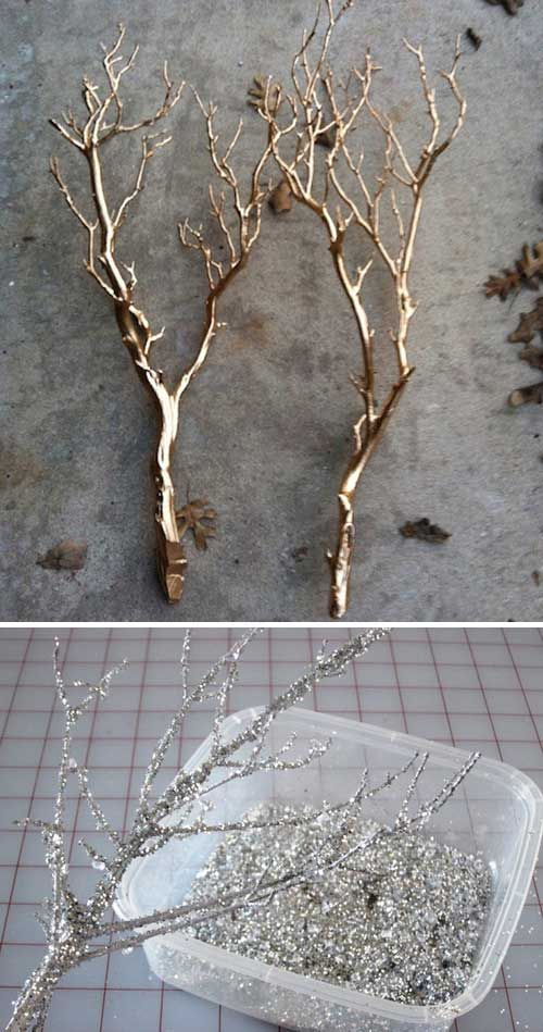 #10. Spray paint or sparkle branches is an inexpensive technique to set the scene at a winter…