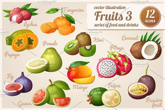 Set of cartoon food icons: Fruits-3 by Ann-zabella on @creativemarket