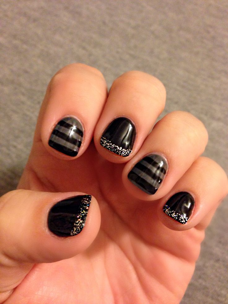 9 best gel manis images on pinterest cute nails nail design and new years eve black and grey glitter gel manicure stripes nailart gel prinsesfo Choice Image