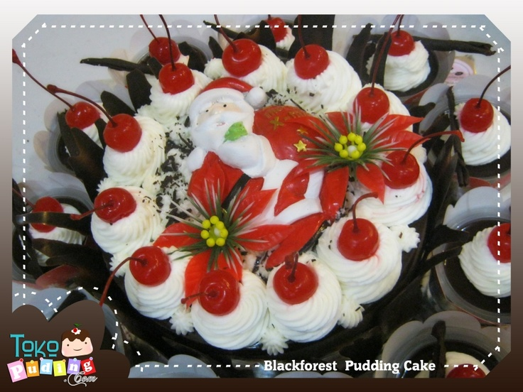 Blackforest Pudding Cake with Christmas Decorated