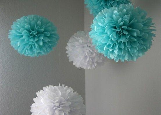 tiffany blue and white poms   etsy by lelia