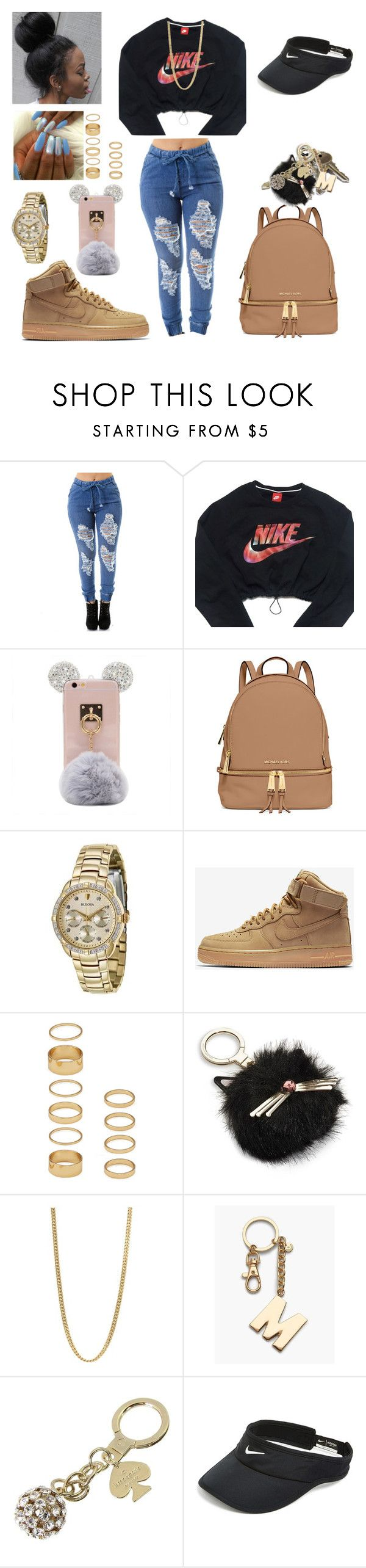"""#Nike"" by missmka ❤ liked on Polyvore featuring NIKE, MICHAEL Michael Kors, Bulova, Forever 21, Avon, Kate Spade, Marc by Marc Jacobs and Talbots"