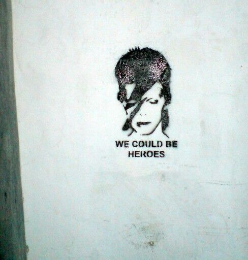 "David Bowie Stencil Graffiti ""We Could be Heroes"""