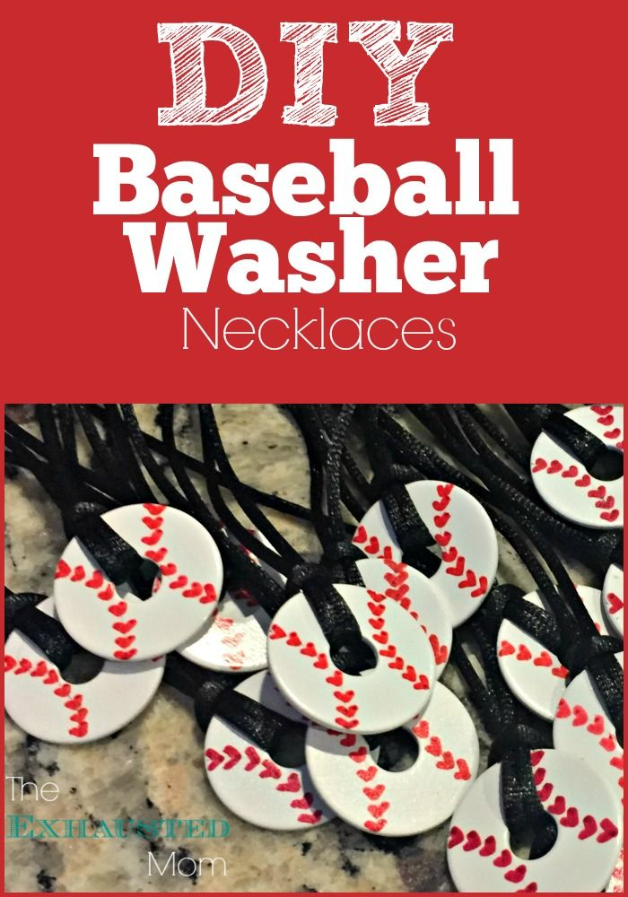 EASY to make Baseball Washer Necklaces! Perfect for your favorite baseball lovers. (You can also use these steps for softballs too!)