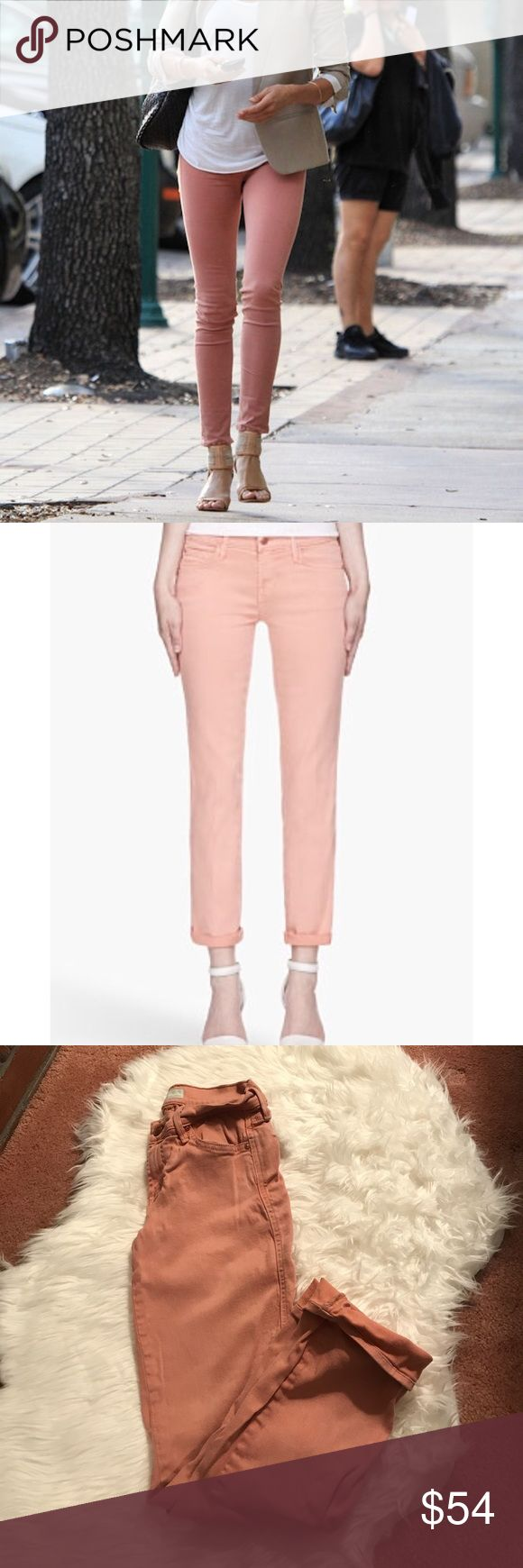 """MOTHER the rascal cuff jeans in peach size 26 Stretchy comfy colored denim! Can be rolled or left unrolled. Color is fading around the waist and pockets and the pants are fairly wrinkly otherwise they are in good condition! Inseam is 27"""" MOTHER Jeans Ankle & Cropped"""