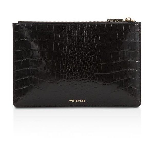 Whistles Shiny Small Croc-Embossed Leather Clutch ($105) ❤ liked on Polyvore featuring bags, handbags, clutches, croco embossed leather handbags, crocodile embossed leather handbags, whistles purse, croc embossed leather handbags and whistles handbags