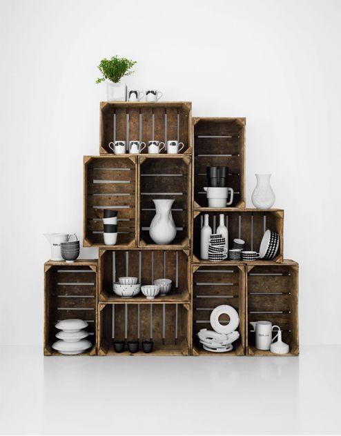 wooden crates....