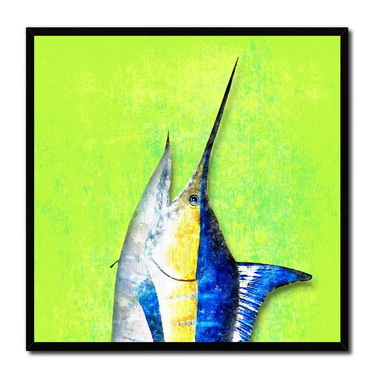 Swordfish Fish Head Art Green Canvas Print Picture Frame Wall Home Decor  Nautical Fishing Gifts