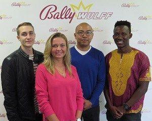 Neue Azubis bei BALLY WULFF (von links nach rechts): Tim Lange, Monika Pavic, Panupon Nawanthu und Mohamed Konneh. Foto: Bally Wulff