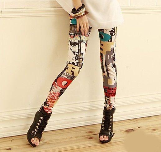 Stylish Scrawl Letter Pattern Women's LeggingLeggings | RoseGal.com