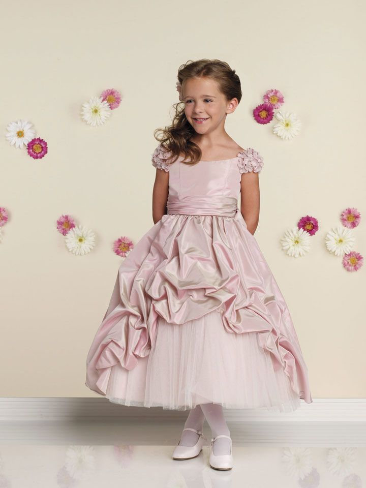 Off shoulder natural waist tulle dress for flower girl