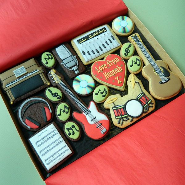 Piano, guitars, headphones, music, drum decorated cookie - a music set