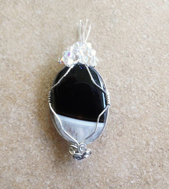 Black White Onyx Druzy Pendant, Sterling Silver Wire Wrapped Pendant, Made in America, Hand Wrapped Pendant,Mothers Day Gifts, Gifts for Her
