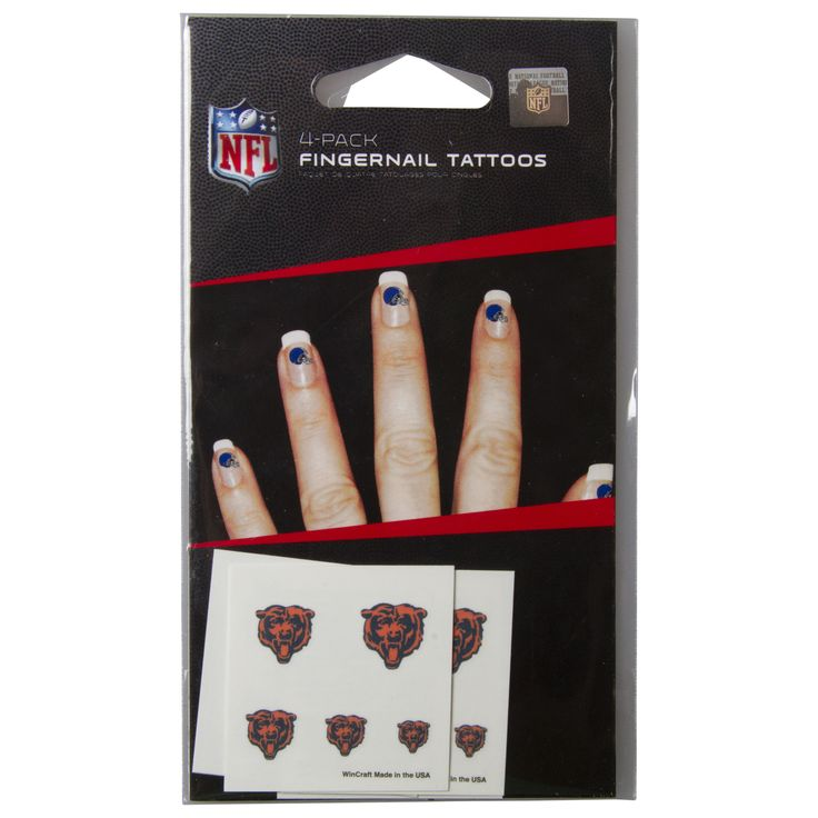 Chicago Bears Logo Fingernail Tattoos 4-Pack by Wincraft #Chicago #ChicagoBears #Bears #BearDown