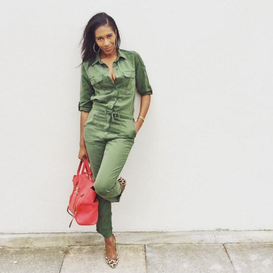 Our super-stylish Affiliate manager  rocking the Topshop utility jumpsuit. We just love the pop of red and leopard-print touches she added. More military pieces are on the other side of the pic!