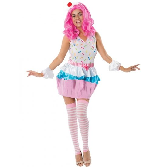 Cupcake kostuum voor dames. Leuk cupcake jurkje met bijpassende hoofdband en polsbandjes.