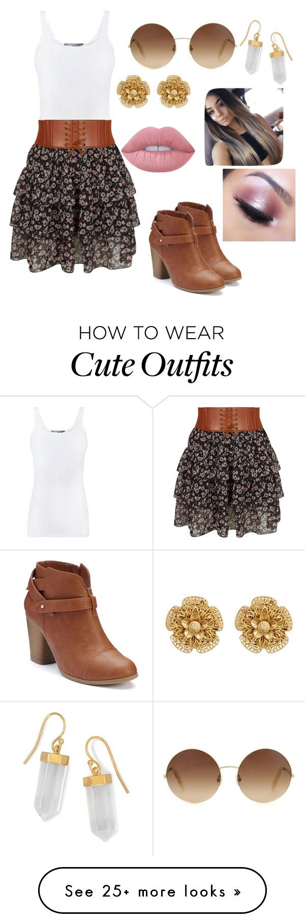"""Cute outfits"" by da-queen078 on Polyvore featuring Vince, New Look, LC Lauren Conrad, Victoria Beckham, BillyTheTree, Miriam Haskell, Lime Crime and Too Faced Cosmetics"
