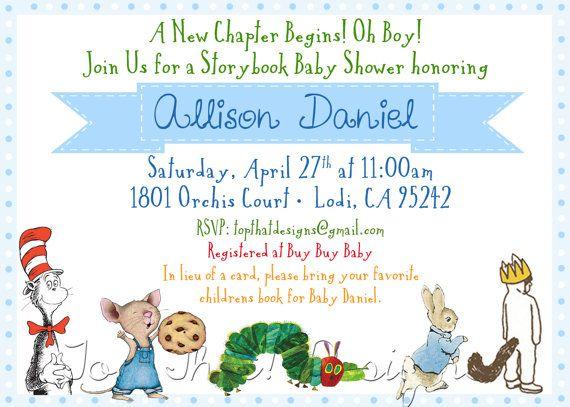 children 39 s book themed baby shower invitation by jenleonardini