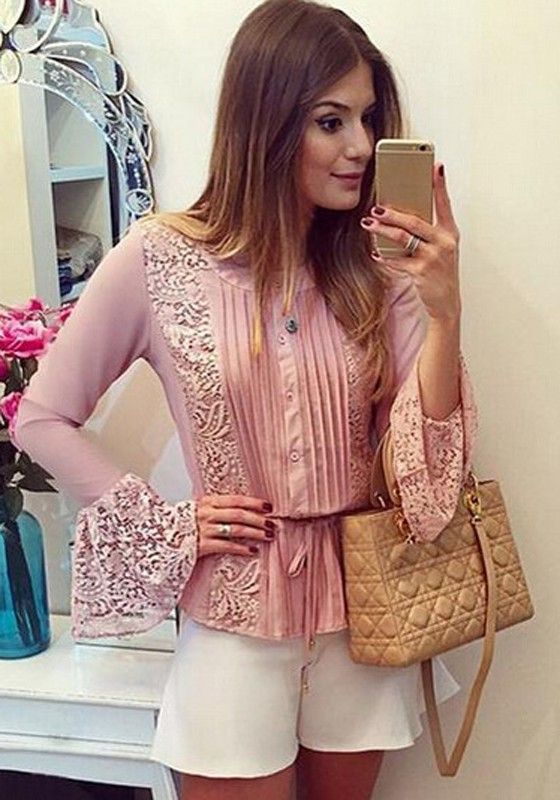 pink-plain-lace-buttons-round-neck-long-sleeve-blouse.jpg (560×800)