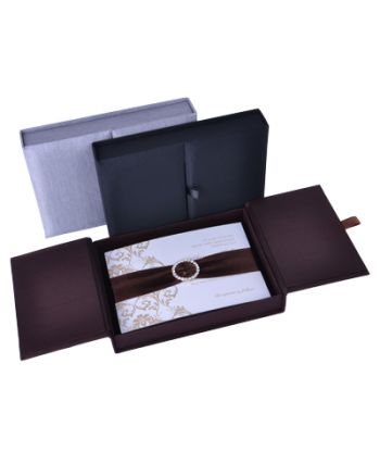 Uitnodiging doosje ornament met dubbele opening (Small) Zijden uitnodiging dozen 13,37