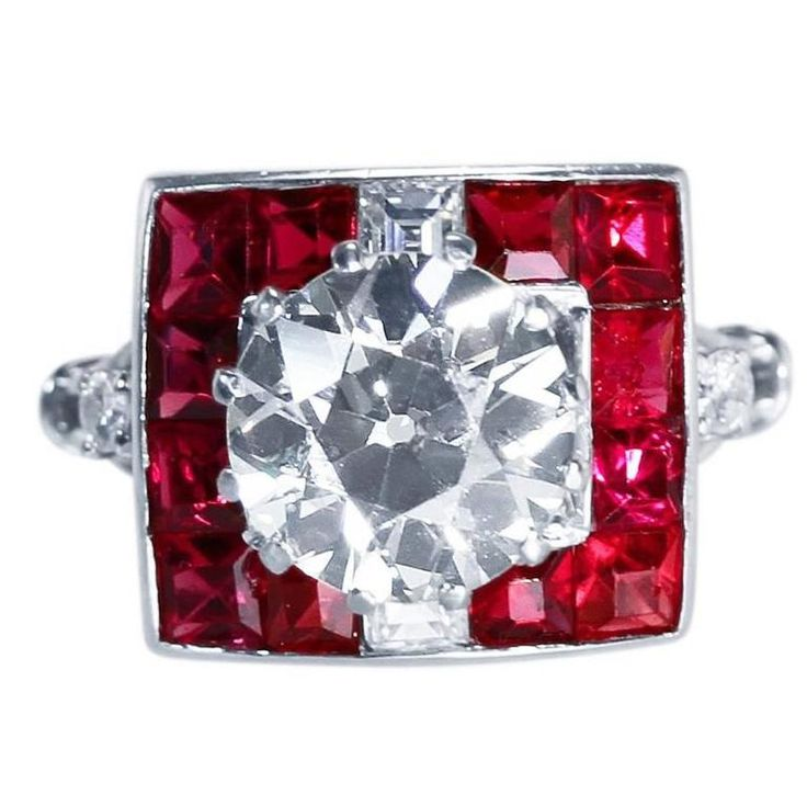 Art Deco 2.83 Carat Diamond and Natural Red Spinel Ring | From a unique collection of vintage more rings at https://www.1stdibs.com/jewelry/rings/more-rings/