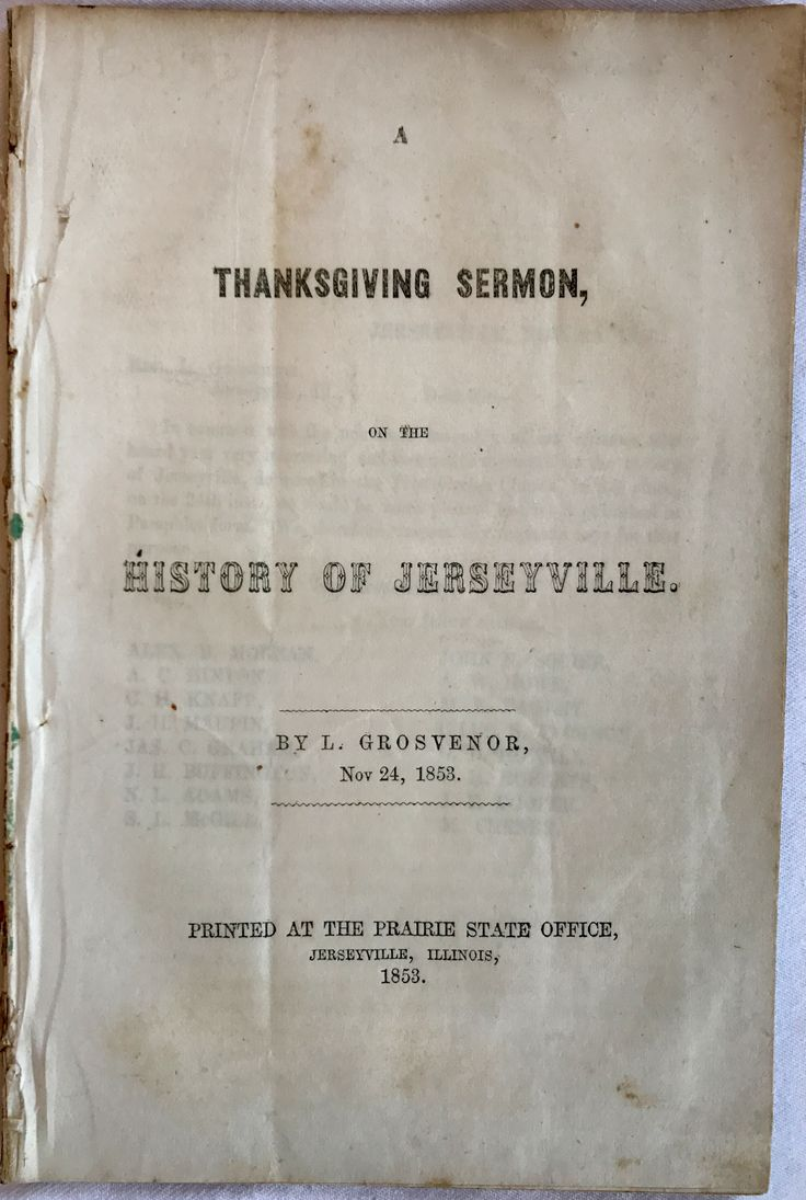A Thanksgiving Sermon, On the History of Jerseyville | LizzYoung Bookseller