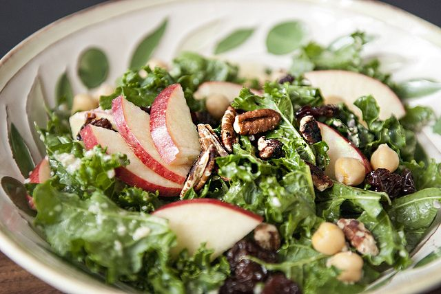 autumn kale salad with apples, cherries and pecans