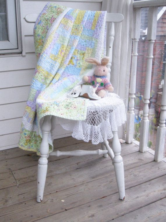 Quilted Baby Blanket  Crib Quilt  Patchwork by mailordervintage