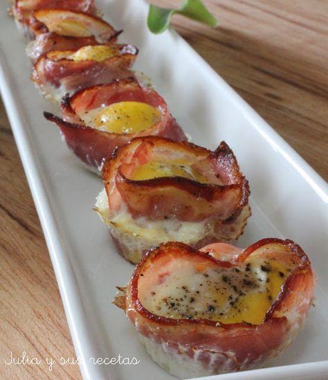 Tartaletas, bacon, huevos, huevos de codorniz, Julia y sus recetas, aperitivos, entrantes
