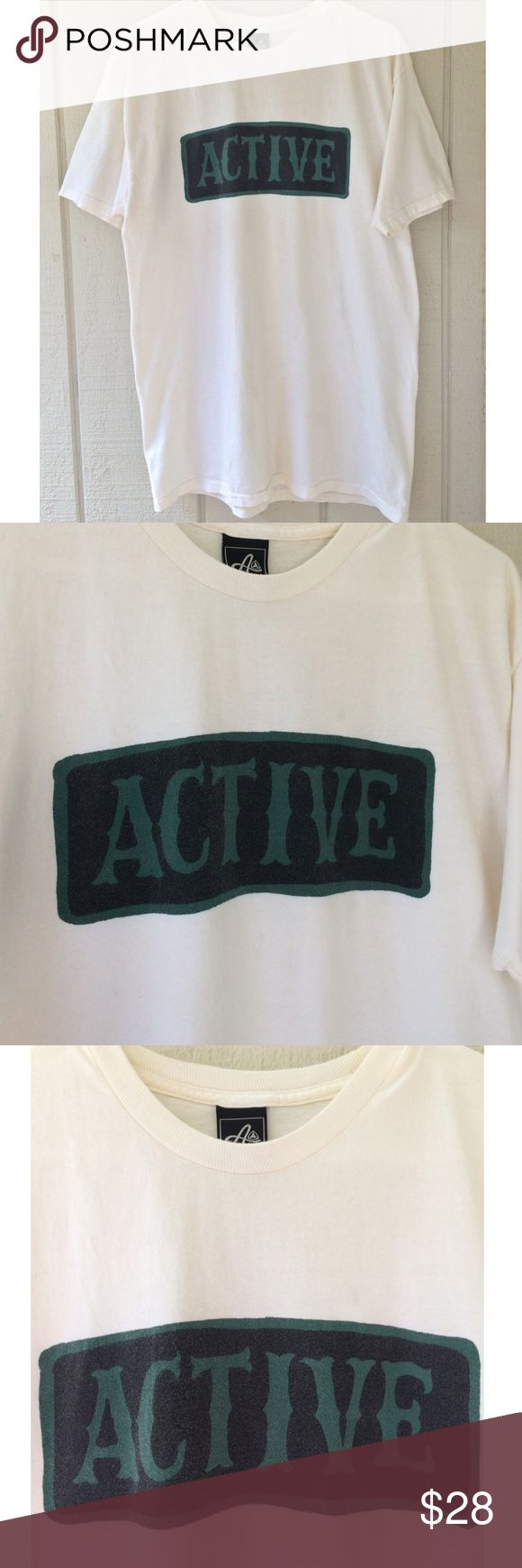 Active Skate Box Logo T-shirt Active skate brand. Size large. Cream off white color with green and black logo. Good condition light wear no significant flaws. FREE SURPRISE GIFT WITH EVERY ORDER! Active Ride Shop Shirts Tees - Short Sleeve
