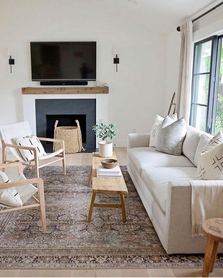Simple Boho Living Room Design Light Cream Sofa Midcentury Modern Chairs Cream Sofa Living Room Rugs In Living Room Living Room Design Boho