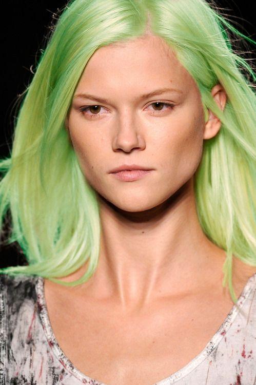 hair: Greenhair, Colored Hair, Coloured Hairstyles, Braid Hairstyles, Hair Style, Lime Green, Green Hair, Limes