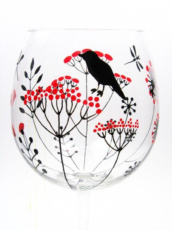 Painted Wine Glasses, Retro Flowers